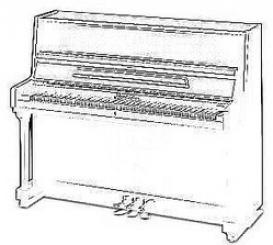 Профессиональное пианино с прямыми ножками, выполненное в традиц
